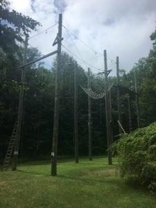 Overhead ropes course at Camp Words Unspoken.